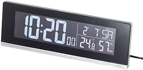 infactory Tischfunkwecker: Tisch-Funkwecker mit Thermometer, Hygrometer und USB-Ladebuchse, 2 A (Tisch Funkuhr)