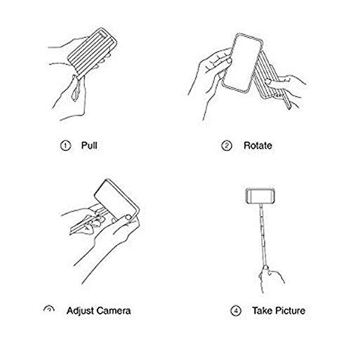 VCOMP® Handy Schutzhülle mit Selfie Stange für Apple iPhone 6/ 6s - SCHWARZ SCHWARZ + Großer Eingabestift