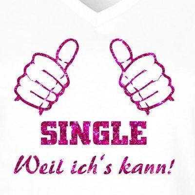 Fun Shirt Damen Fun Shirt Damen Fun Shirt Damen Sprüche SINGLE weil ich's kann Party T-Shirt Malle Glitzeraufdruck pink Weiß