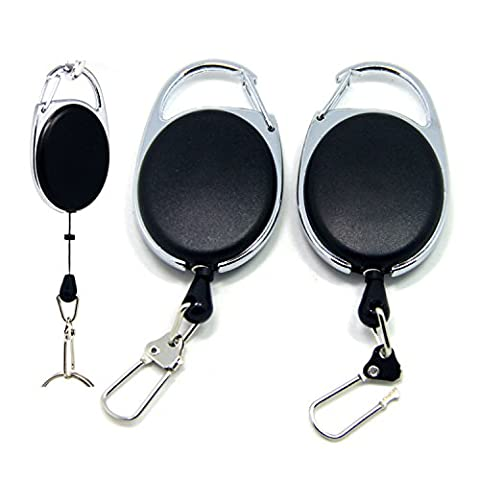 SAMS Retractable Reel Clip for Key Chain ID Badge Holder Office or Outdoor Fishing 2PCS Packed