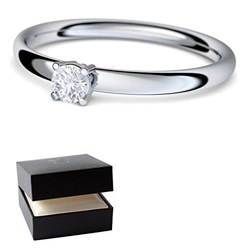 Anillo de compromiso diamond diamante solitario 0.06 carat TW/VS (calidad superior) en plata 925 - incluye Estuche + - Vorsteckring diamond anillos plata brillant - AM161 SS925BRFA