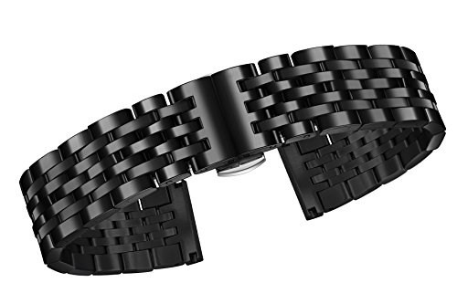 23mm-premium-black-metal-straps-for-watches-316l-stainless-steel-with-solid-links-brushed-clasp