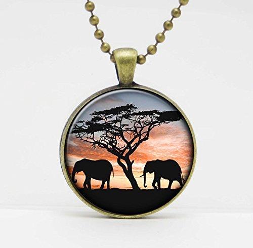 Elefantes en el sol arte foto colgante de cristal o llavero