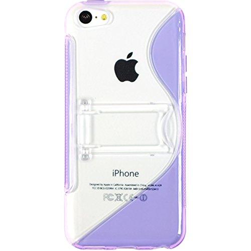 PhoneNatic Case für Apple iPhone 5c Hülle Silikon weiß Aufstellbar Cover iPhone 5c Tasche + 2 Schutzfolien Lila