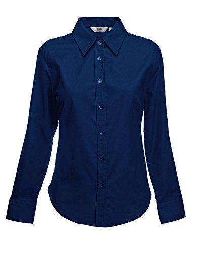 Fruit of the Loom Damen Hemd Oxford Shirt Ls Lady-Fit Blau (Navy 200)