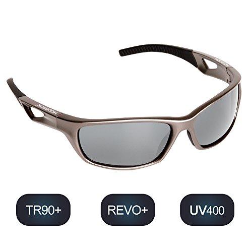 hodsgon Polarisierte Sportbrille Sonnenbrille Fahrradbrille mit UV400 Schutz für Damen und Herren Autofahren Laufen Radfahren Angeln Golf TR90 (Gray/Silver)