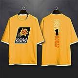 SHR-GCHAO Suns Devon Booker T-Shirt à Manches Courtes pour Hommes Etudiants Basketball Sportswear T-Shirt à Manches mi-Longues Ventilateurs Vêtements de Ballon,Jaune,XXL185~190CM