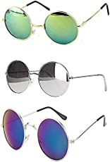 Hipe Uv Protected Combo Of 3 Round Men's, Women's, Boy's, Girl's Sunglasses - (Ynk-Rgrn-Rslvr-Rblu|55|Silver)