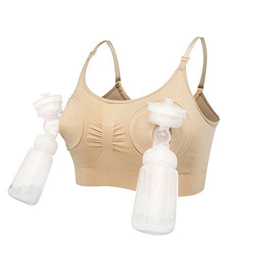 WangsCanis Damen Hände frei Still Milchpumpe Fütterung BH Mama Unterwäsche Schwangerschaft Still-BH (M/32DE/34DE/36ABC/38ABC, Beige)