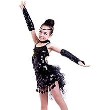 XFentech Bambini Ragazze Moda Abiti da Ballo Latini Costumi di danza Paillettes Senza Maniche Abbigliamento Performante Vestito