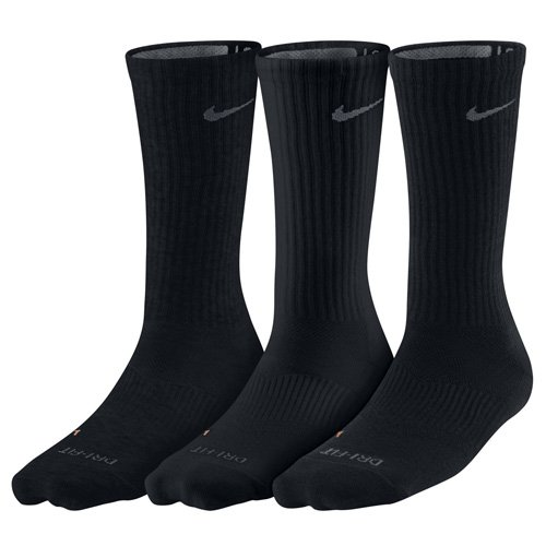 Nike Crew Socks 3PPK Dri Fit Lightweight, Black/Flint Grey, S, SX4831-001 (3pr Packs)