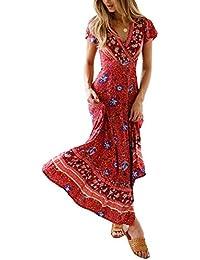 37c4eaf9eb0b68 MAGIMODAC Blumenkleid Boho Kleid Strandkleid Sommerkleid Maxikleid Kleid  Lang mit Schlitz 36 38 40 42