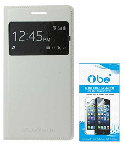 TBZ S-View Flip Cover Case for Samsung Galaxy Grand 2 with Screen Guard -White  available at amazon for Rs.379