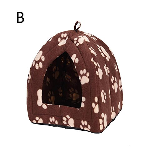 Loveless Land Comfortable Folding Pet House Kennel Dog Cat Bed Cave Tent (Brown)