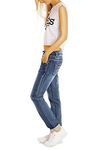 Bestyledberlin Damen Boyfriend Jeans, Lockere Baggy Jeans, Relaxed Hüftjeans j27k-neu Dunkelblau