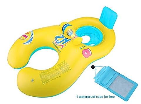 Vercrown Aufblasbare Baby Pool Schwimmer Schwimmen Ring Mutter und Baby Sitzboot Yacht mit Wasserdichte tasche Safty für Eltern und Kleinkind Kinder ins Wasser Spielen