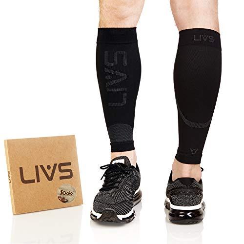 LIVS Waden-Kompressionsstrümpfe, Greruchshemmend, Schwarze Stützstrümpfe ohne Fuß für Damen & Herren, Sport, Beschleunigen Regeneration, Medizinisch Empfohlen, Paar, XL