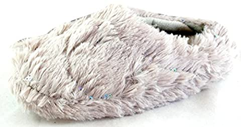 Tom Franks Girls Grey Plush Mule Slippers With Sequins Size