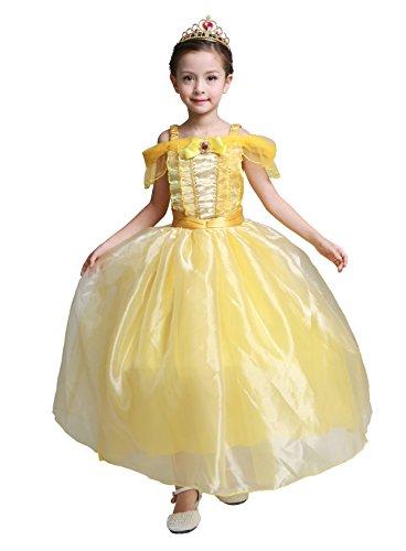 Lito Angels Mädchen Prinzessin Belle Kleid Kostüm Geburtstag Weihnachten Halloween Party Verkleidung Karneval Cosplay Kinder mit Paillette 6 Jahre (Belle Kleid Kostüm)