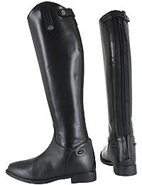 Horka Childs cuero hípica mostrando/competencia botas ancho/estándar de la pantorrilla, negro, 34EU Normal Calf