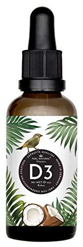 Vitamin D3 - Laborgeprüfte 5000 IE je Tropfen - 50ml (1750 Tropfen) - in MCT-Öl aus Kokos gelöst - Ohne Zusätze - Hergestellt in Deutschland