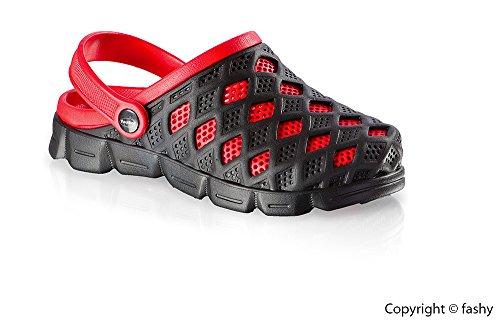 Fashy mivall-clog, scarpe da spiaggia mare donna pantoletten asmi scarpe Nero - nero/rosso