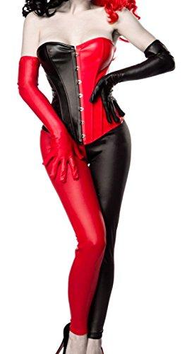 Damen Harlekin Corsage Kostüm Verkleidung mit Corsage, Leggings, Handschuhe in Lederoptik schwarz rot schulterfrei M (Kostüm Mit Schwarzen Leggings)