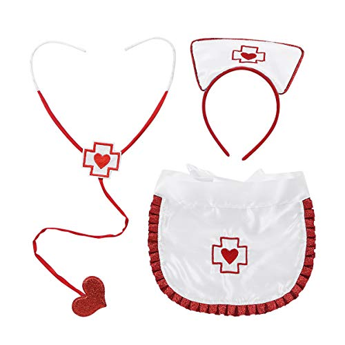 Krankenschwester Kostüm Zubehör Sexy - FEESHOW 3tlg. Damen Krankenschwester Kostüm Set Zubehör Sexy Nurse Fasching Party Cosplay Halloween Weiß+Rot One Size