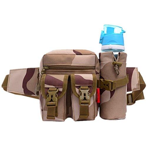 Multifunzione Marsupio Militare–Bottiglia per acqua vita borsa per viaggi, campeggio esterno, Militärgrau Militärbraun2