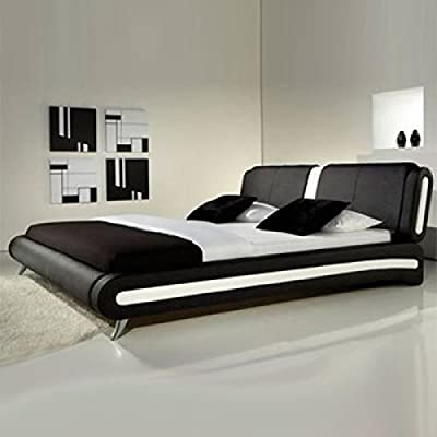 Frankfurt & Co Giovanni Modern Faux Leather Bed in Black & White - low-cost UK light store.