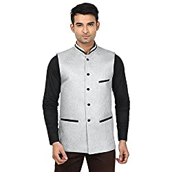 QDesigns Mens Nehru Jacket (WJ_13_Silver & Black_42)