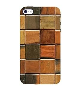 PrintVisa Wooden Check Pattern 3D Hard Polycarbonate Designer Back Case Cover for Apple iPhone 5S