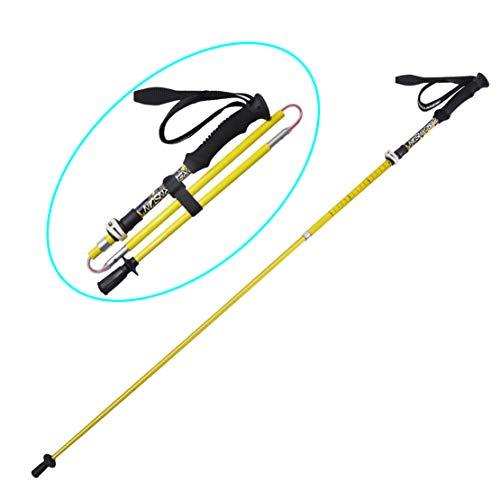 HIOD Wanderstock Gehen Wandern Luftfahrt-Kohlefaser Rod Tragbar Faltbar Stick Tragetasche Für Klettern,Yellow,2PC