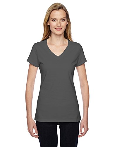 Fruit of the Loom Damen-4,7 Oz 100% sofspuntm Baumwolle Jersey Junior V-Ausschnitt T-Shirt Grau