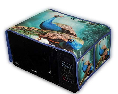 HOMECRUST Heavy Microwave Cover with 4 Pockets - Peacock