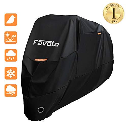 Favoto Funda para Moto 190T Cubierta de Motocicleta Protector Poliéster con Banda Reflectante Resistente al Agua a Prueba de UV Lluvia Polvo Viento Nieve Excremento de Pájaro XXL 245cm Negro