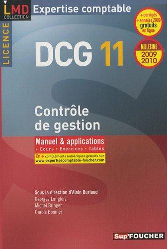 DCG 11 Contrôle de gestion : Manuel et applications