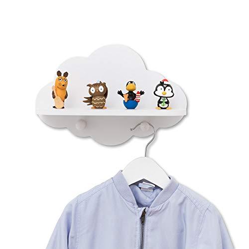 Luvel - Wolken Kinderzimmer Regal Wandregal Kinderregal + Kindergarderobe mit 2 Haken, Maße Wolke : 30 x 20 x 1 cm/Regalfläche 28 x 11 x 1 cm-weiß
