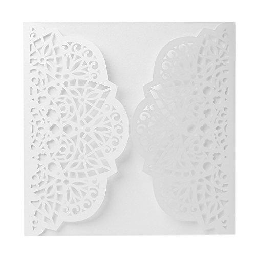 Er yaonow 10Hochzeit Einladung cards-delicate geschnitzt Hohl Floral Spitze Design 15x 15cm