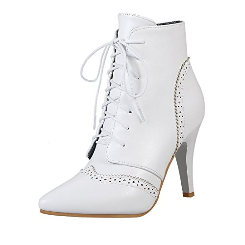 UH Damen Spitze High Heels Stiefeletten Schnür Ankle Boots mit fell 8cm Absatz Vintage Fashion Schuhe