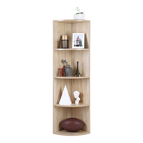 SONGMCS 4 Ebenen Eckregal, Standregal, Bücherregal aus Holz, für Küche, Schlafzimmer, Wohnzimmer, Büro, Farbton Eiche, LBC42NL 4 Regal-schlafzimmer-bücherregal