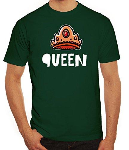 Geschenkidee Herren T-Shirt mit Crown Queen Motiv von ShirtStreet Dunkelgrün