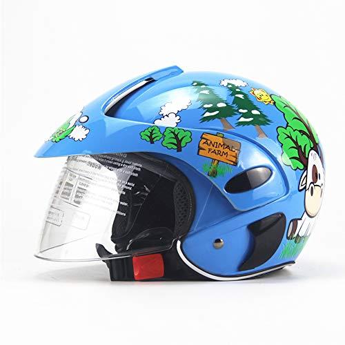 Shfmx Bambini Casco Inverno Antivento Caldo Cartone Animato Ragazzo Ragazza Mezzo Helme Bambini Moto caSchi Leggero Bambino Biciclette Sicurezza Cappelli Blu (3-7 Anni)