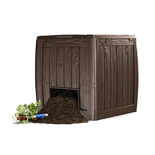 Keter A-1613-1 548584 deco 340 litres composter composteur en bois, plastique marron fonce
