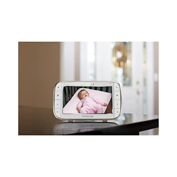 Motorola MBP855 Connect 5-Inch Colour Screen Video Baby Monitor Motorola Portable baby monitor with added Wi-Fi connectivity. Up to 1000 feet range Can connect with Hubble App to your smartphone or tablet.  It easily attaches to shelves, brackets, and more. For safety camera should be mounted at least 3 feet outside of crib Large 5 inch colour display with included infrared night vision 3