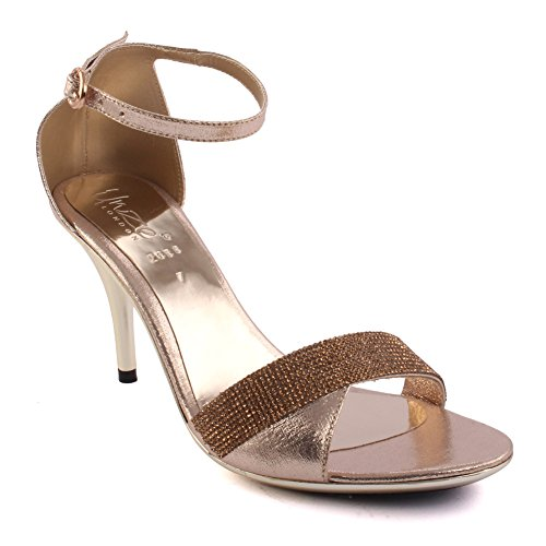 Unze Frauen 'Liam' verschönert Stiletto Fersen Party Prom Abend Hochzeit Sandalen Schuhe UK Größe 3-8 - 2638 Silber