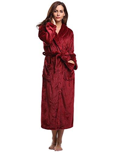 Aibrou Donna Flanella Pile Accappatoio Vestaglia da in pile con dettaglio di nastro rosso vino