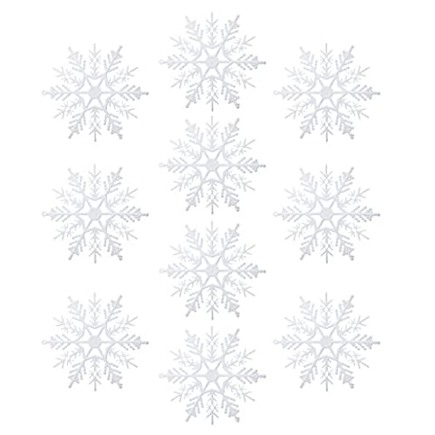 10pcs Hübsch Weiß Schneeflocke Kunststoff Weihnachtsbaum Schmuck Winter deko 7.5/10.5cm - 10.5cm