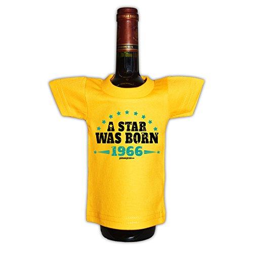 (Mini T-Shirt - A Star was born 1966 - Originelle Verpackung - Geschenkidee - Geburtstag - Party Gag - Flaschenverpackung)