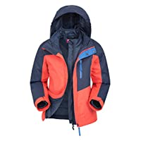 Mountain Warehouse Compass Youth 3 in 1 Jacket - Waterproof Kids Rain Jacket, Breathable, Taped Seams Winter Jacket, Insulated, Detachable Hood - for Travelling, Hiking